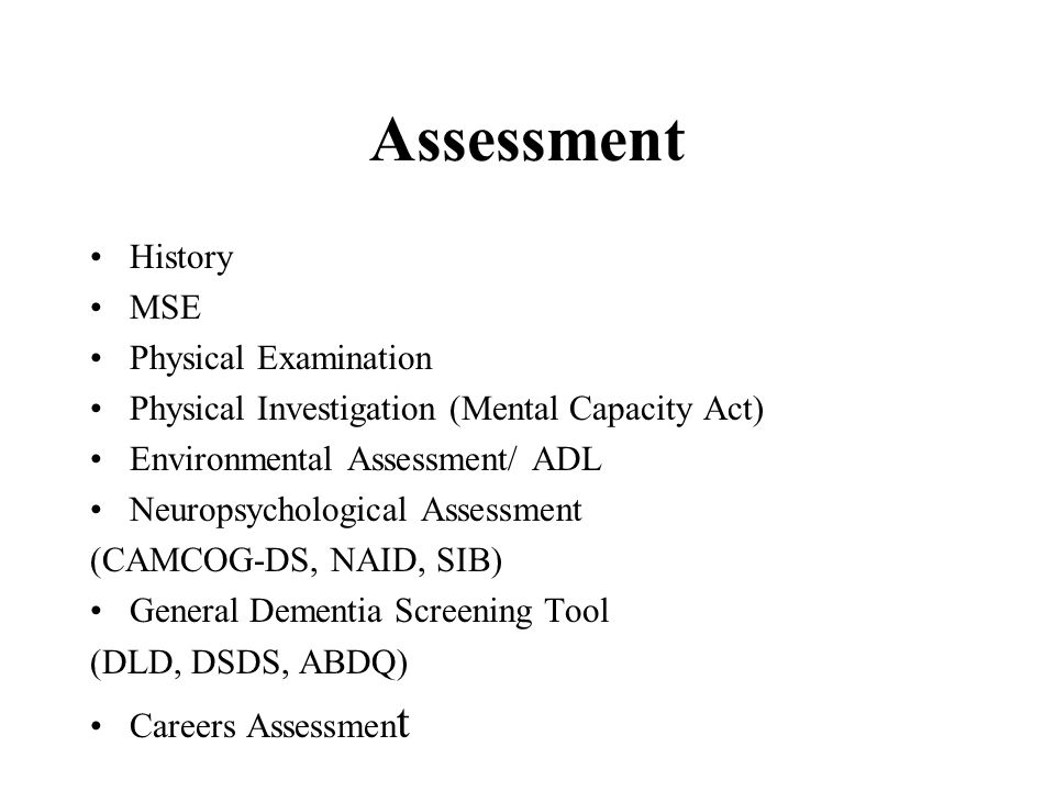 Assessment History MSE Physical Examination
