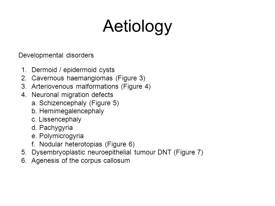 Aetiology Developmental disorders Dermoid / epidermoid cysts