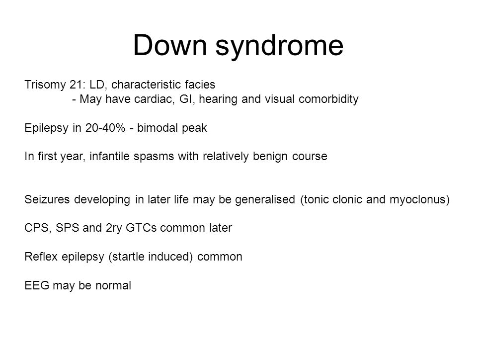 Down syndrome Trisomy 21: LD, characteristic facies