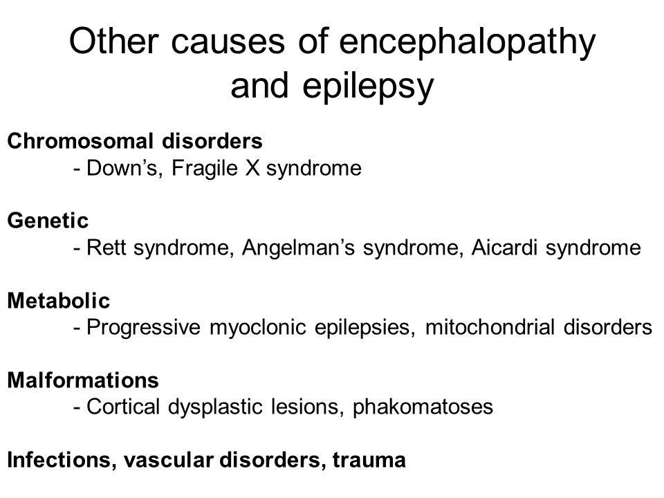 Other causes of encephalopathy and epilepsy