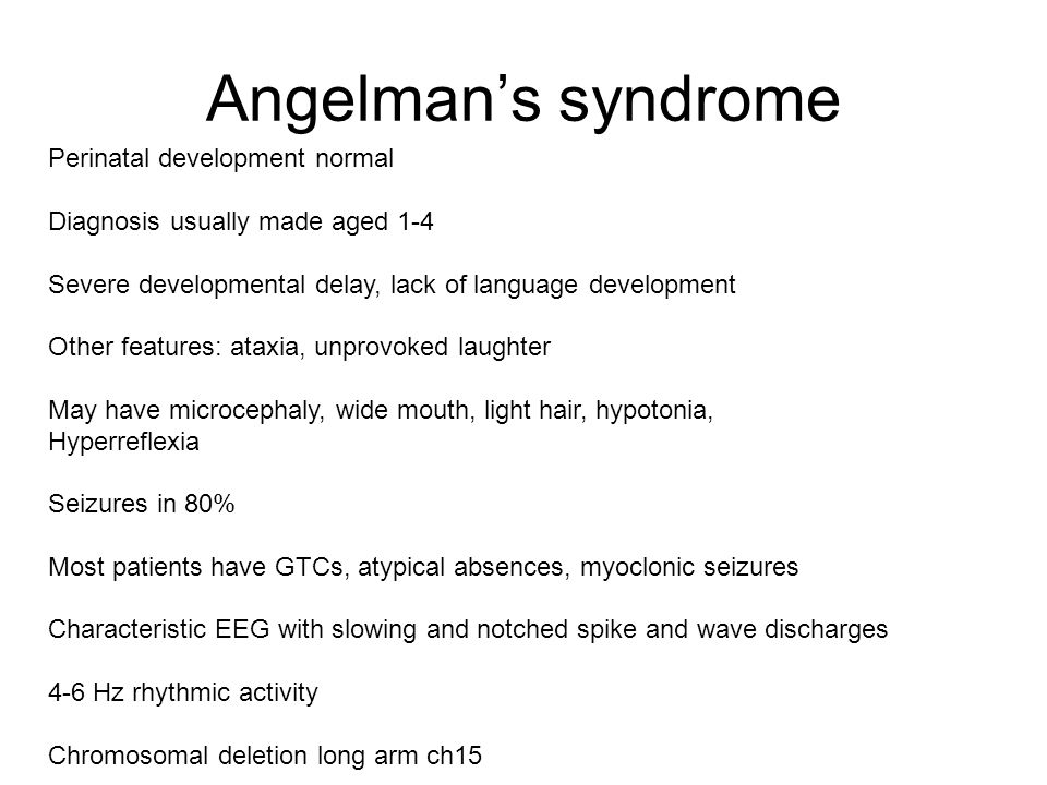 Angelman's syndrome Perinatal development normal