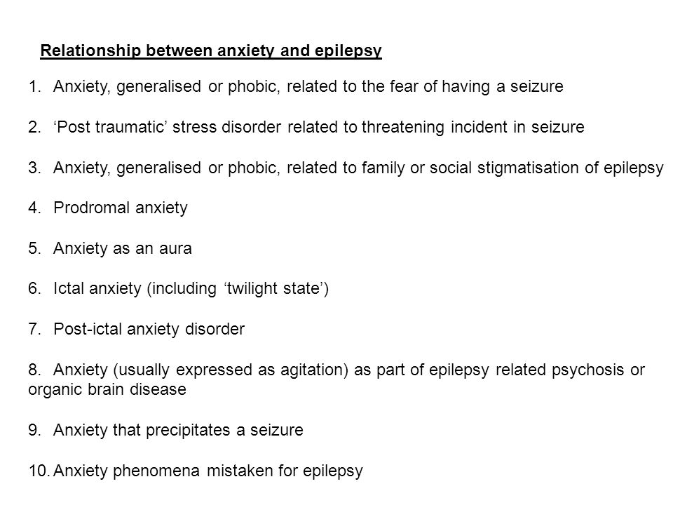 Relationship between anxiety and epilepsy
