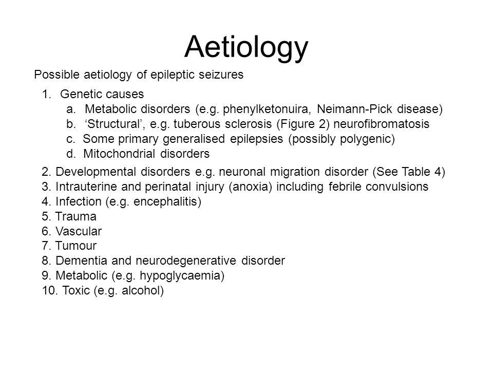 Aetiology Possible aetiology of epileptic seizures Genetic causes