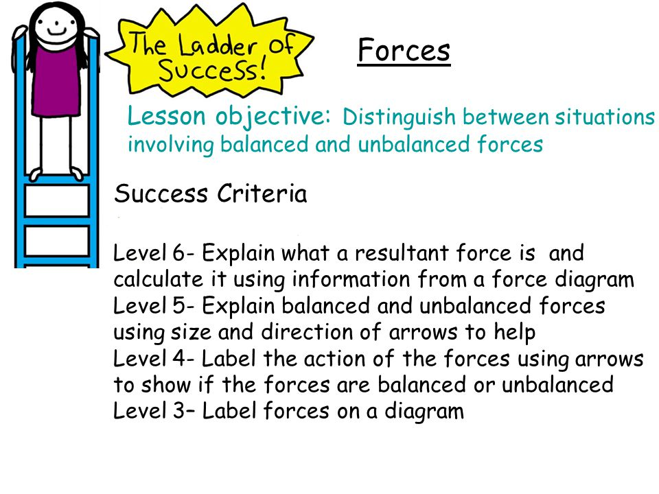 Forces Lesson objective: Distinguish between situations involving balanced and unbalanced forces. Success Criteria.