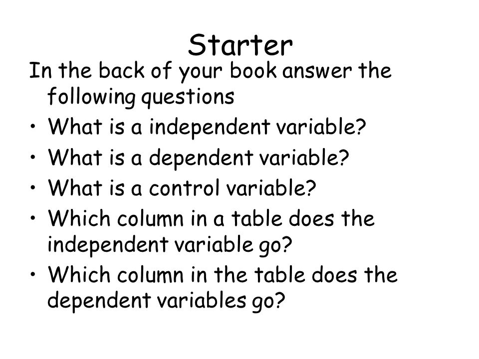 Starter In the back of your book answer the following questions