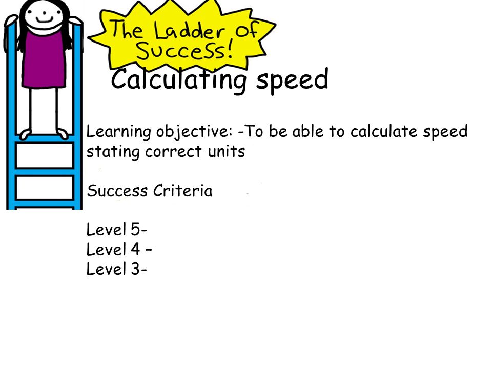 Calculating speed Learning objective: -To be able to calculate speed stating correct units. Success Criteria.