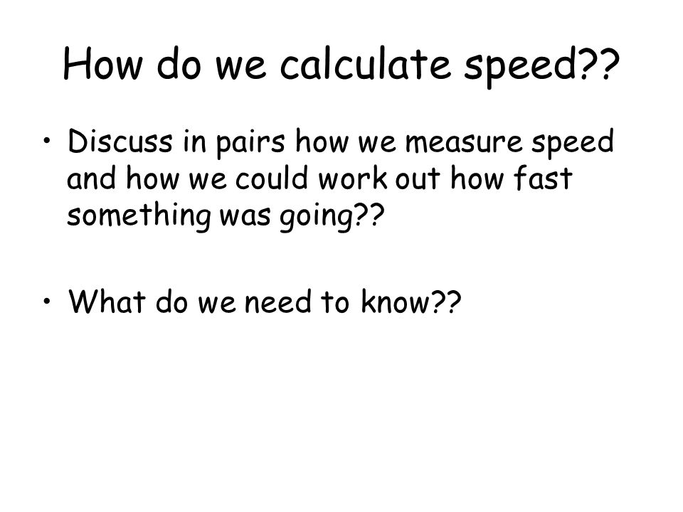 How do we calculate speed