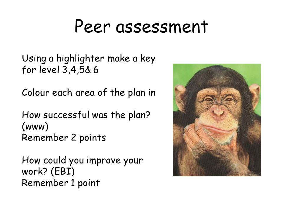 Peer assessment Using a highlighter make a key for level 3,4,5& 6