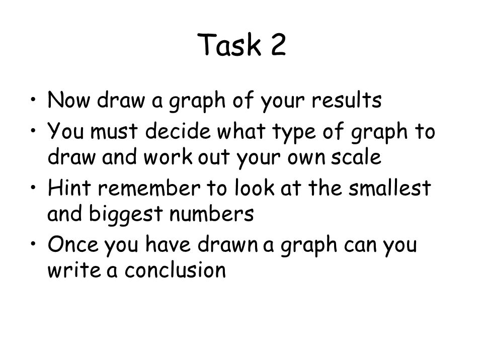 Task 2 Now draw a graph of your results