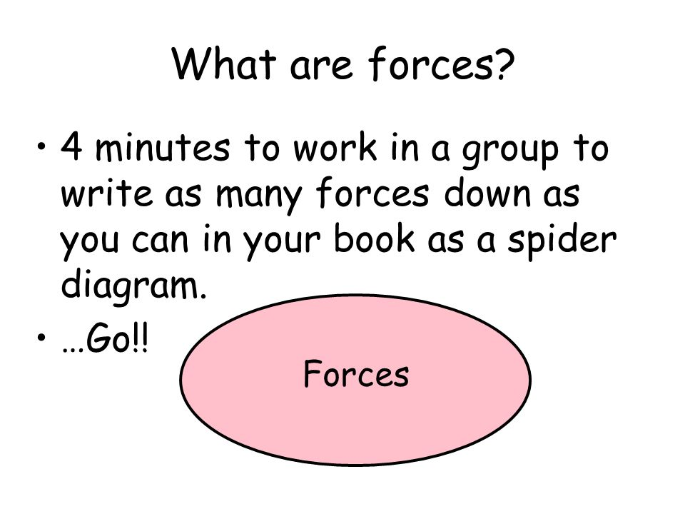 What are forces 4 minutes to work in a group to write as many forces down as you can in your book as a spider diagram.
