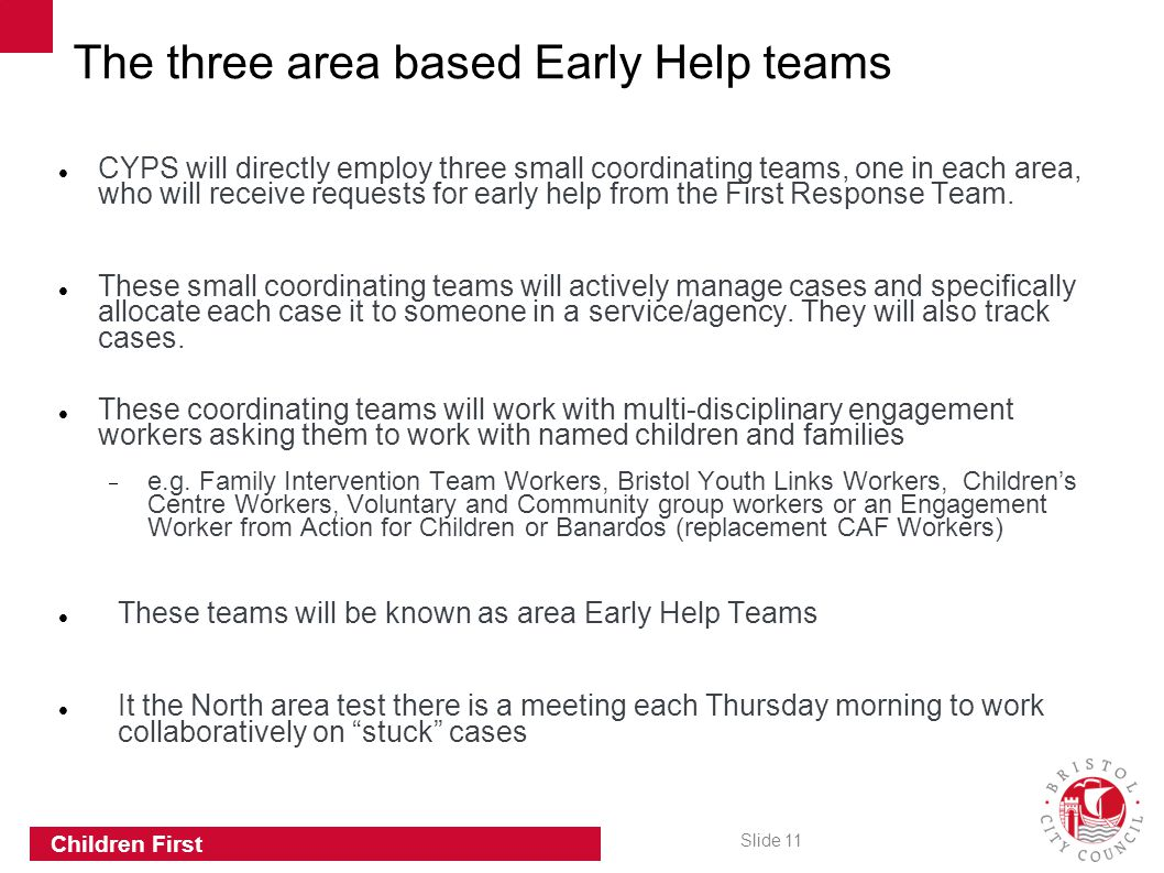 The three area based Early Help teams