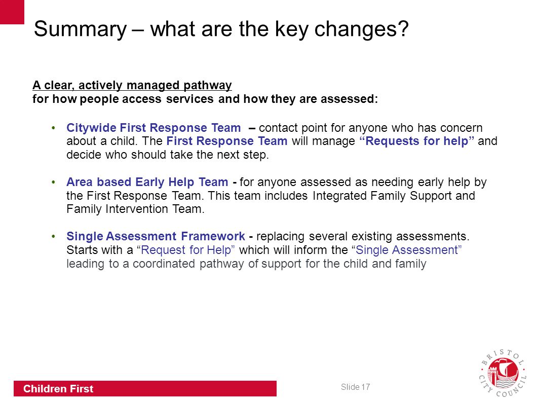 Summary – what are the key changes