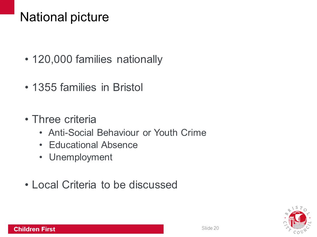 National picture 120,000 families nationally 1355 families in Bristol