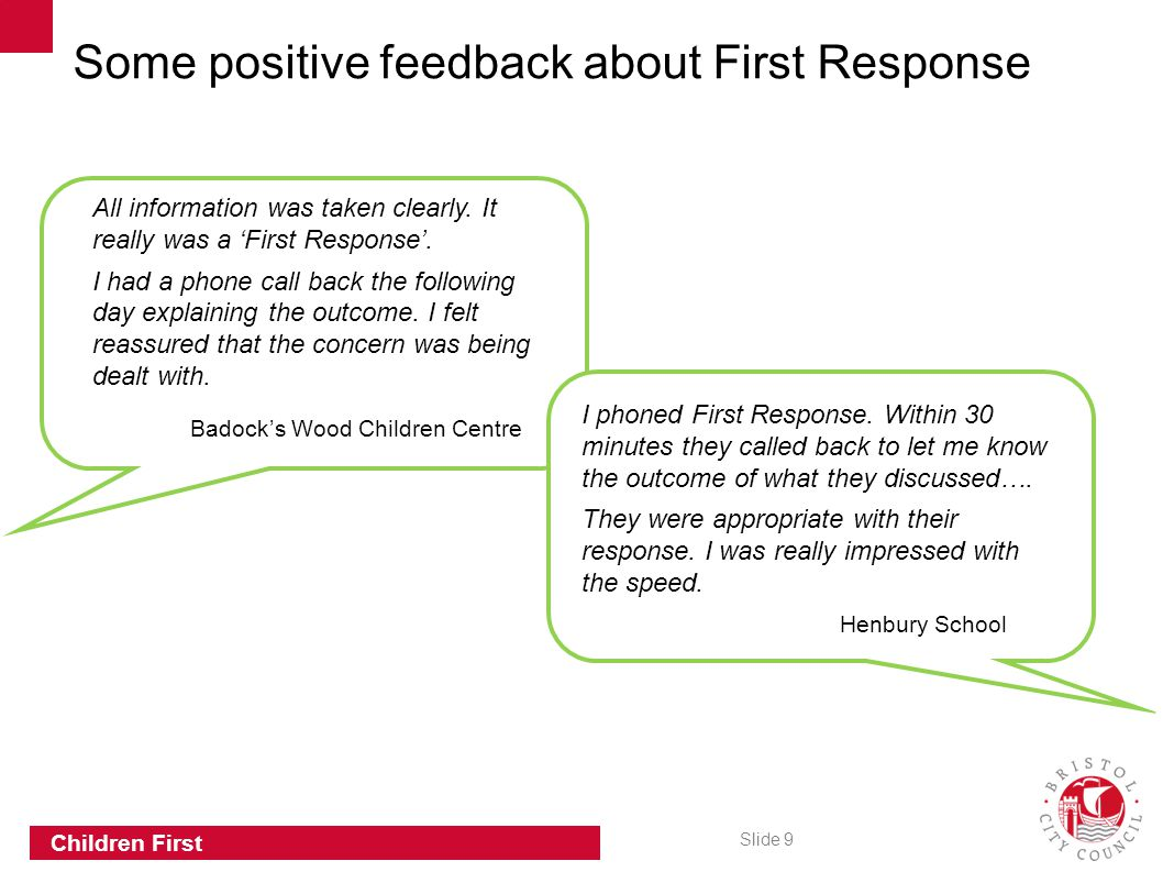 Some positive feedback about First Response