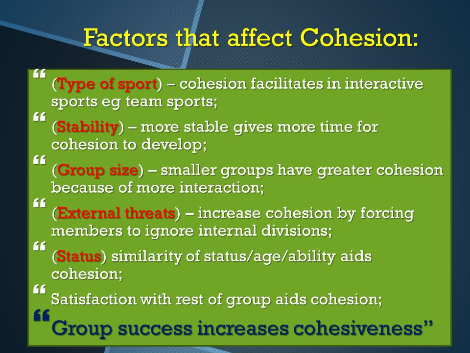 Factors that affect Cohesion:
