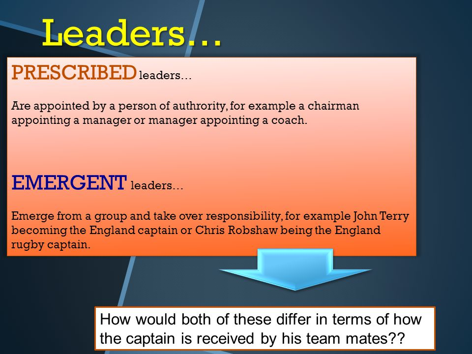 Leaders… PRESCRIBED leaders… EMERGENT leaders…