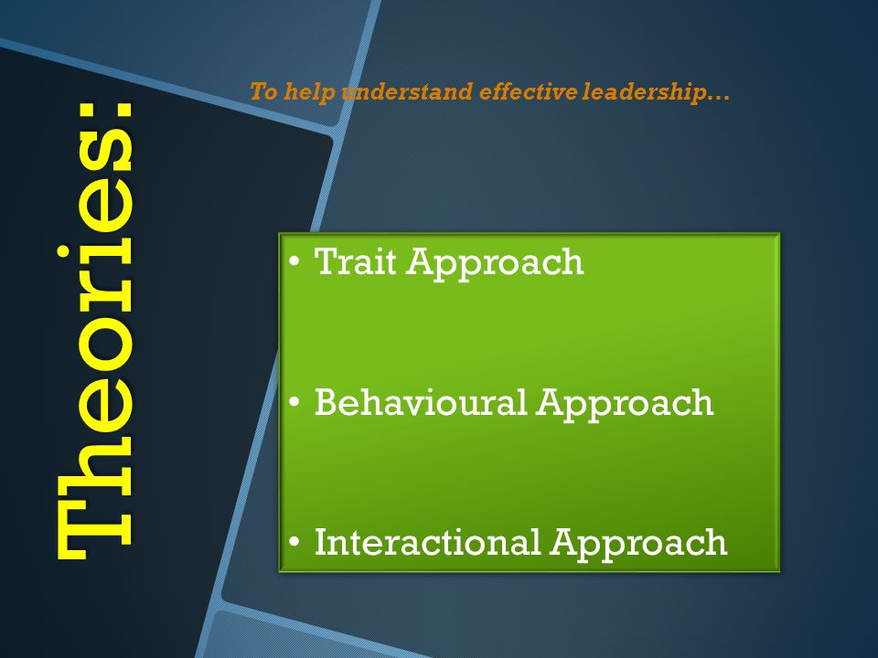 Theories: Trait Approach Behavioural Approach Interactional Approach