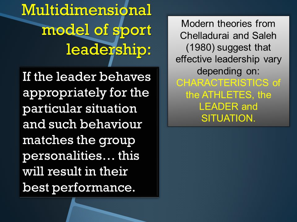 Multidimensional model of sport leadership: