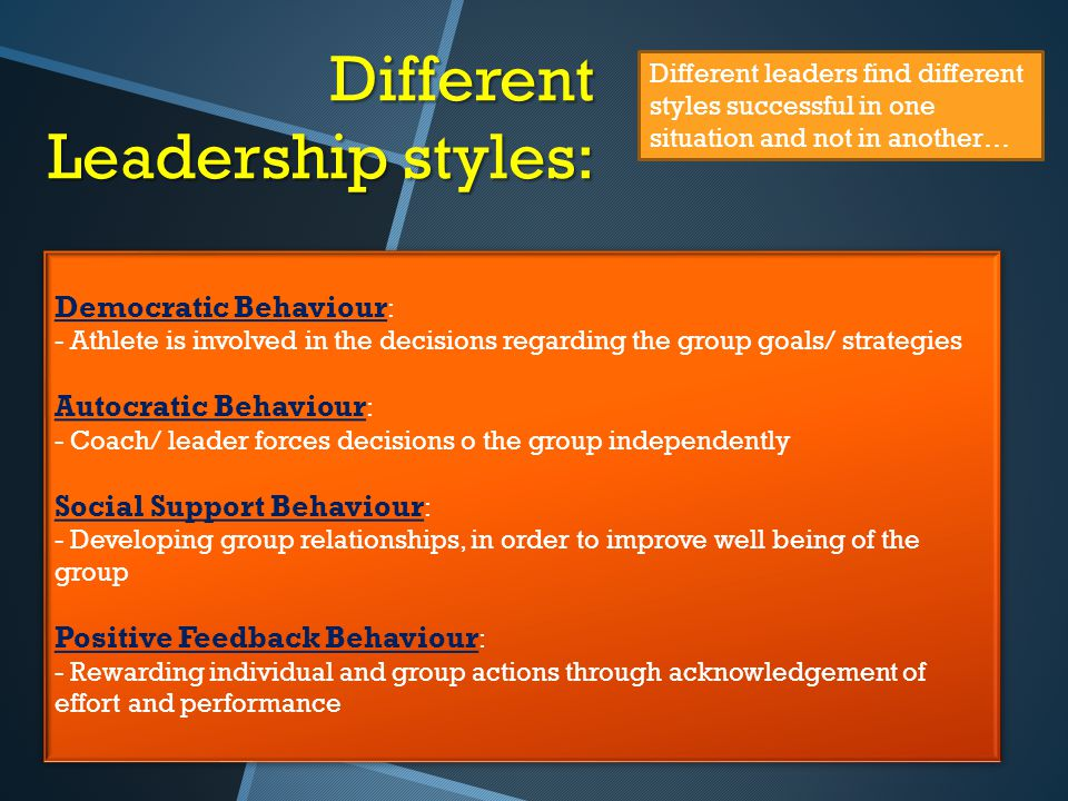 Different Leadership styles: