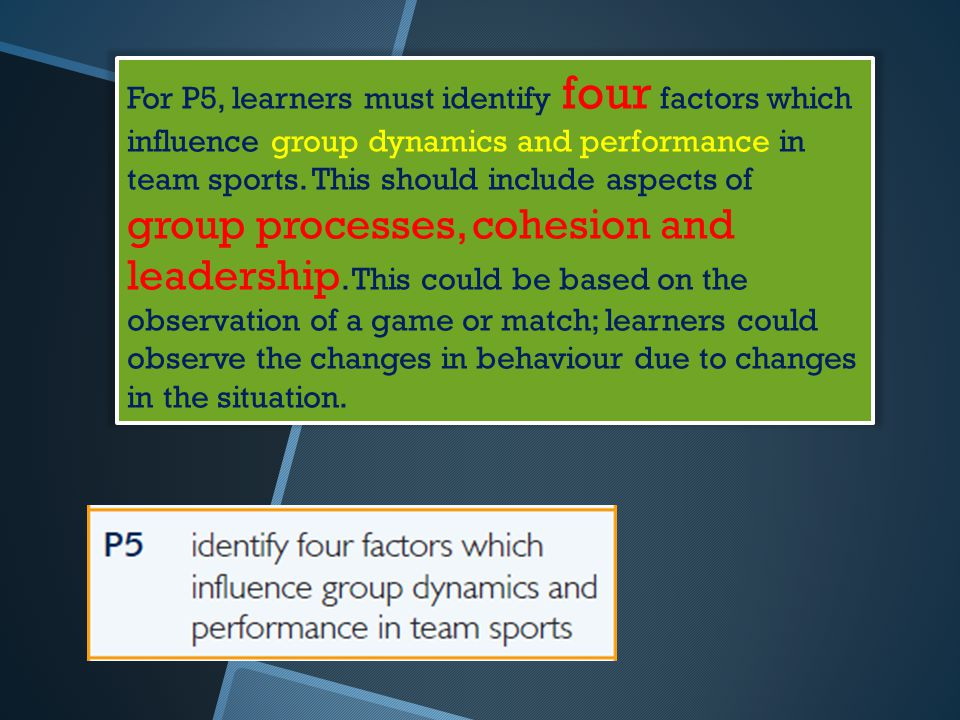 For P5, learners must identify four factors which influence group dynamics and performance in team sports.