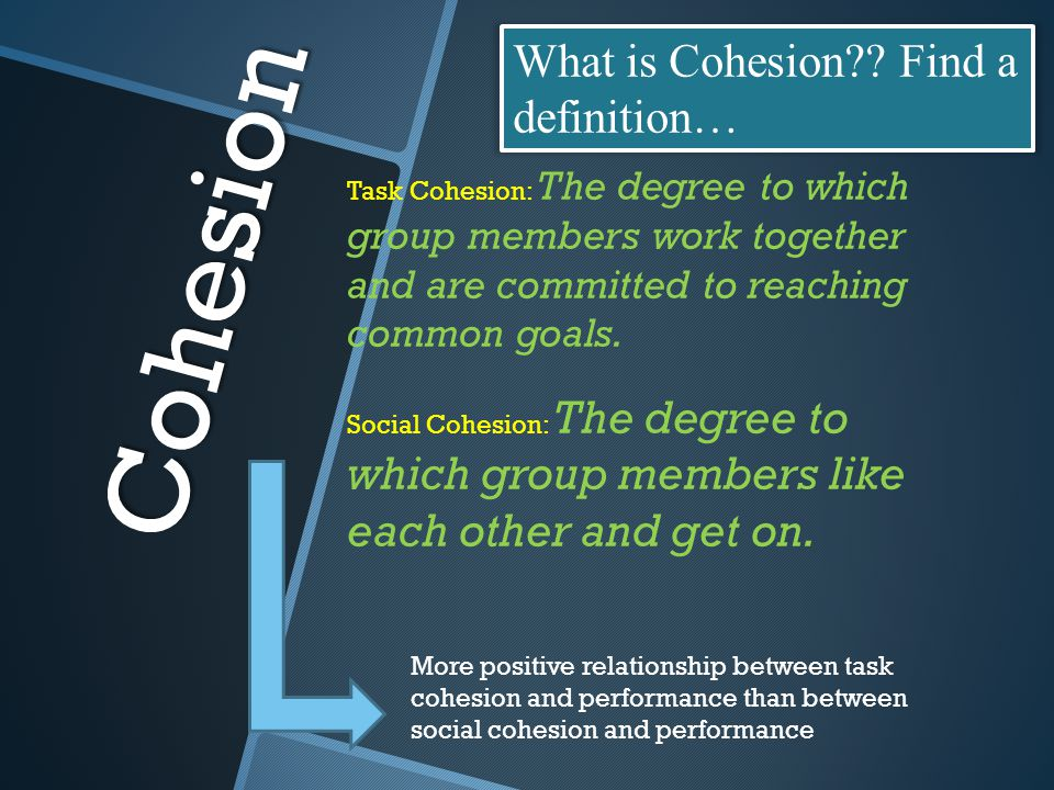 Cohesion What is Cohesion Find a definition…