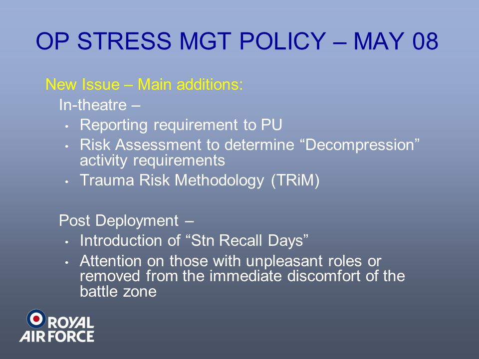 OP STRESS MGT POLICY – MAY 08