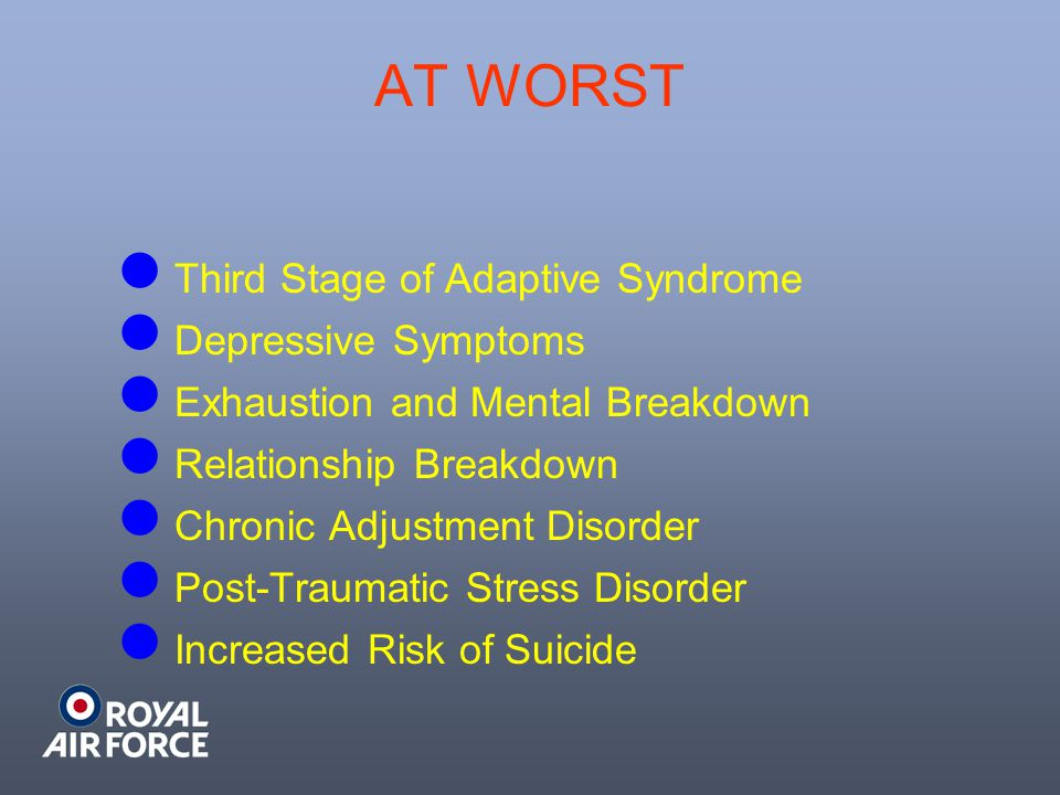 AT WORST Third Stage of Adaptive Syndrome Depressive Symptoms