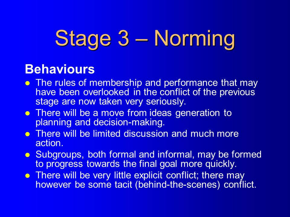 Stage 3 – Norming Behaviours