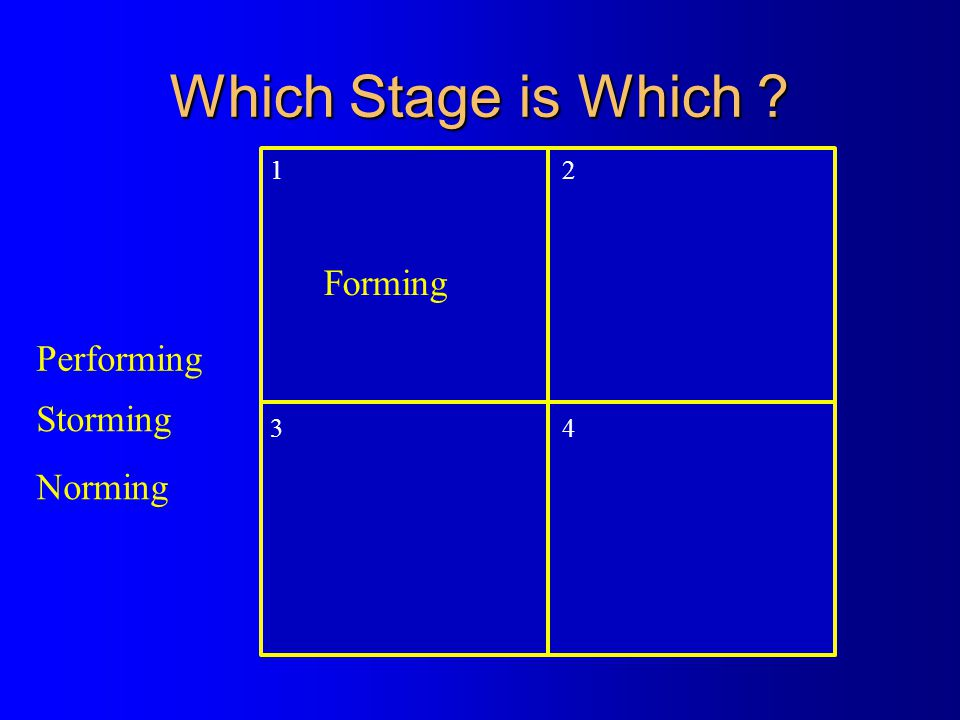 Which Stage is Which 1 2 3 4 Forming Performing Storming Norming