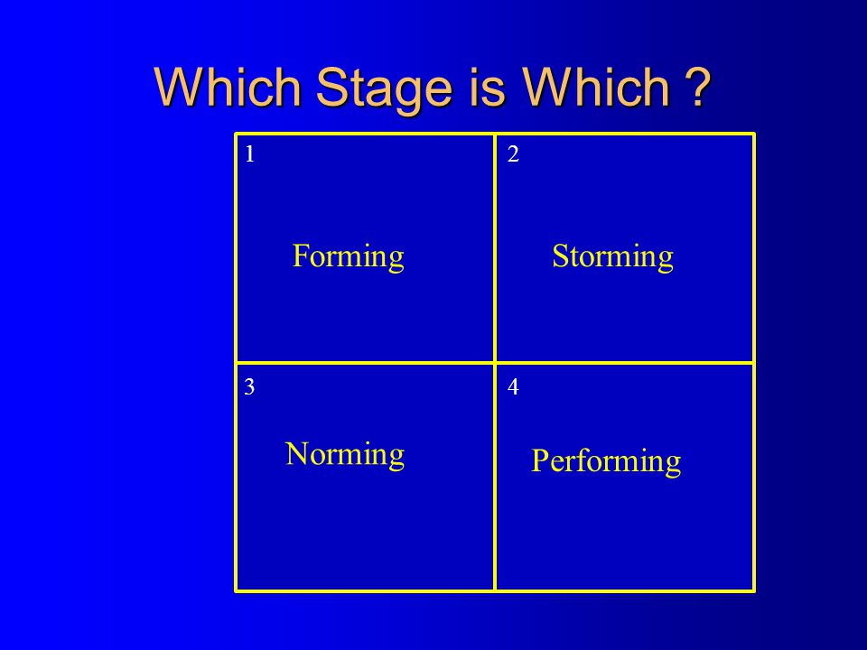 Which Stage is Which 1 2 3 4 Forming Storming Norming Performing