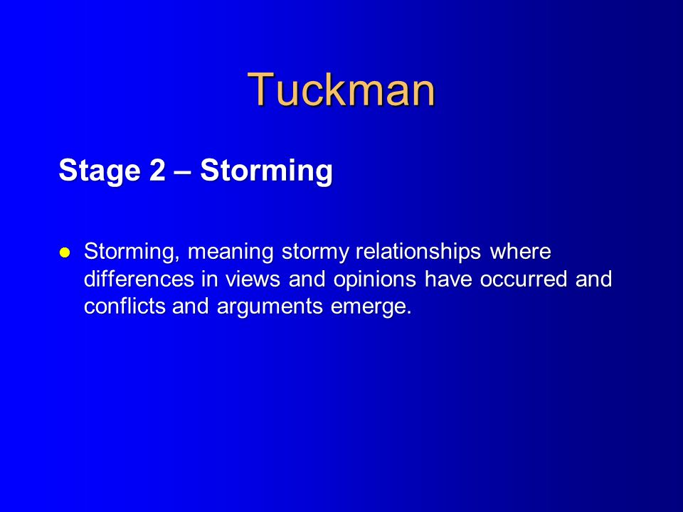 Tuckman Stage 2 – Storming