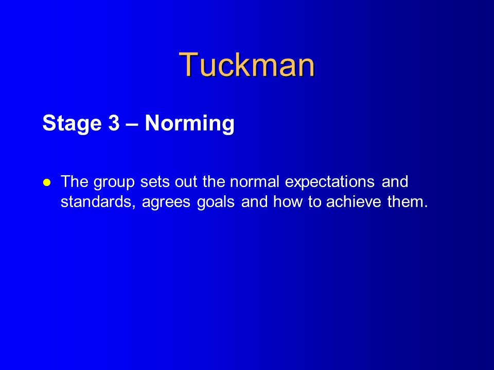 Tuckman Stage 3 – Norming