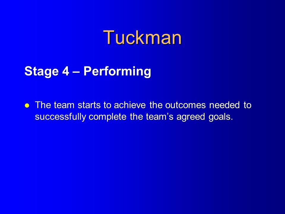 Tuckman Stage 4 – Performing