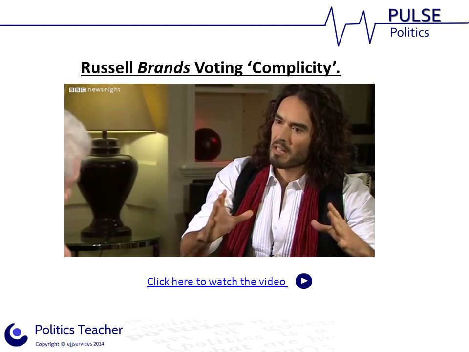 Russell Brands Voting 'Complicity'.