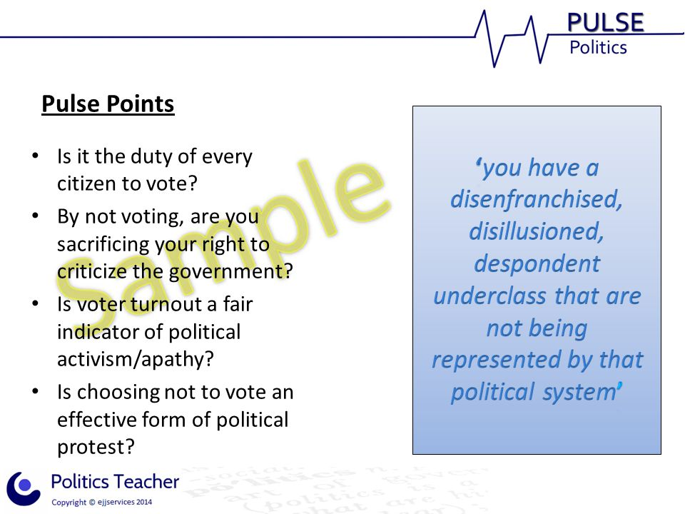 Pulse Points 'you have a disenfranchised, disillusioned, despondent underclass that are not being represented by that political system'
