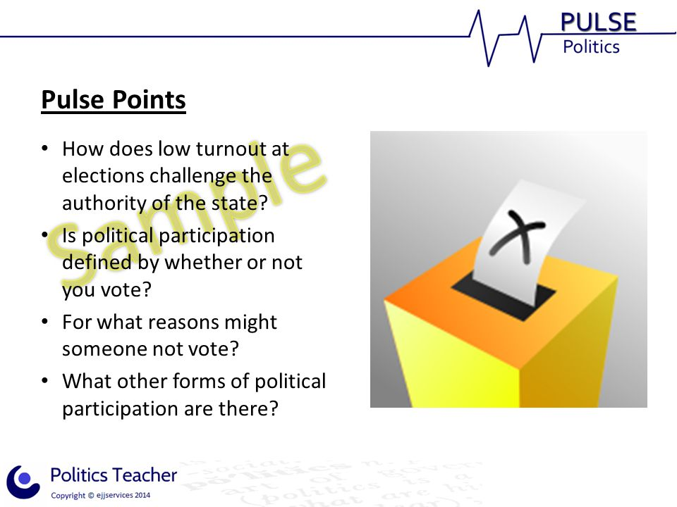 Pulse Points How does low turnout at elections challenge the authority of the state Is political participation defined by whether or not you vote