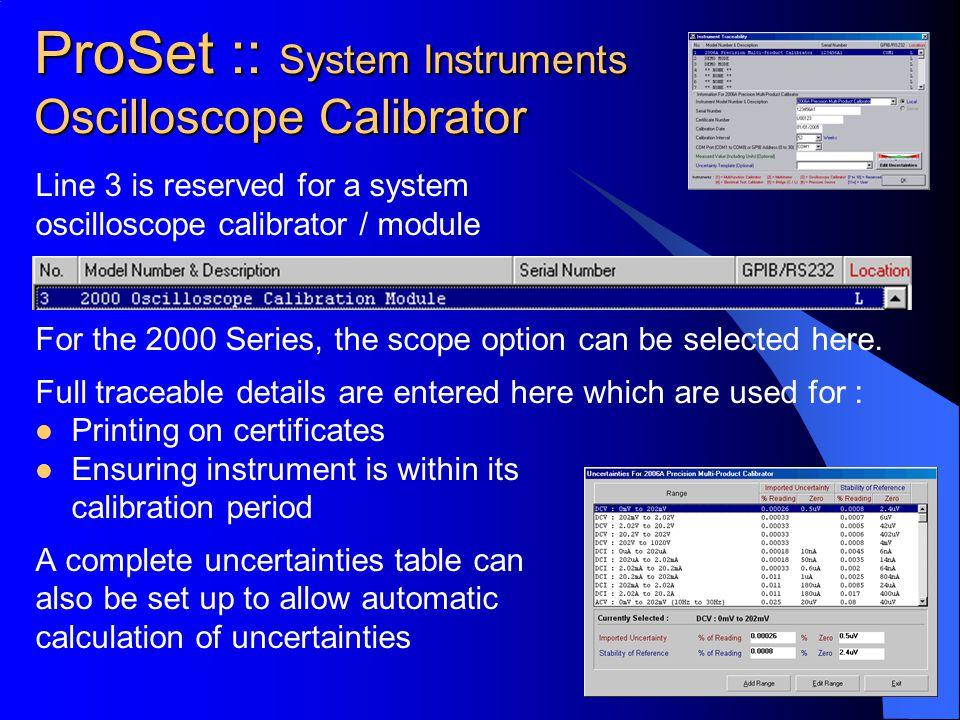 ProSet :: System Instruments Oscilloscope Calibrator