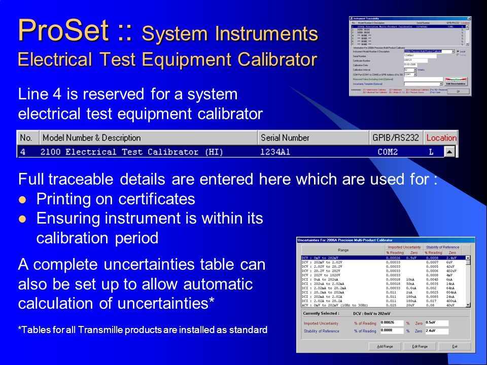 ProSet :: System Instruments Electrical Test Equipment Calibrator