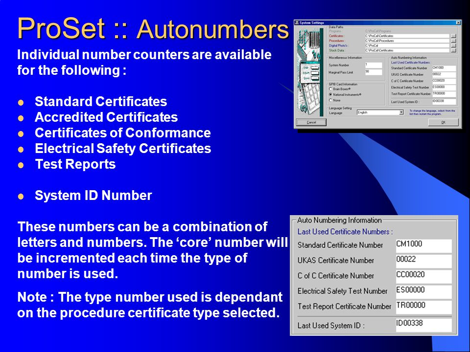 ProSet :: Autonumbers Individual number counters are available
