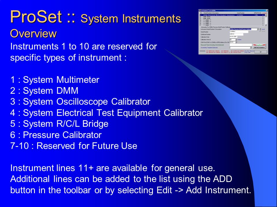 ProSet :: System Instruments Overview