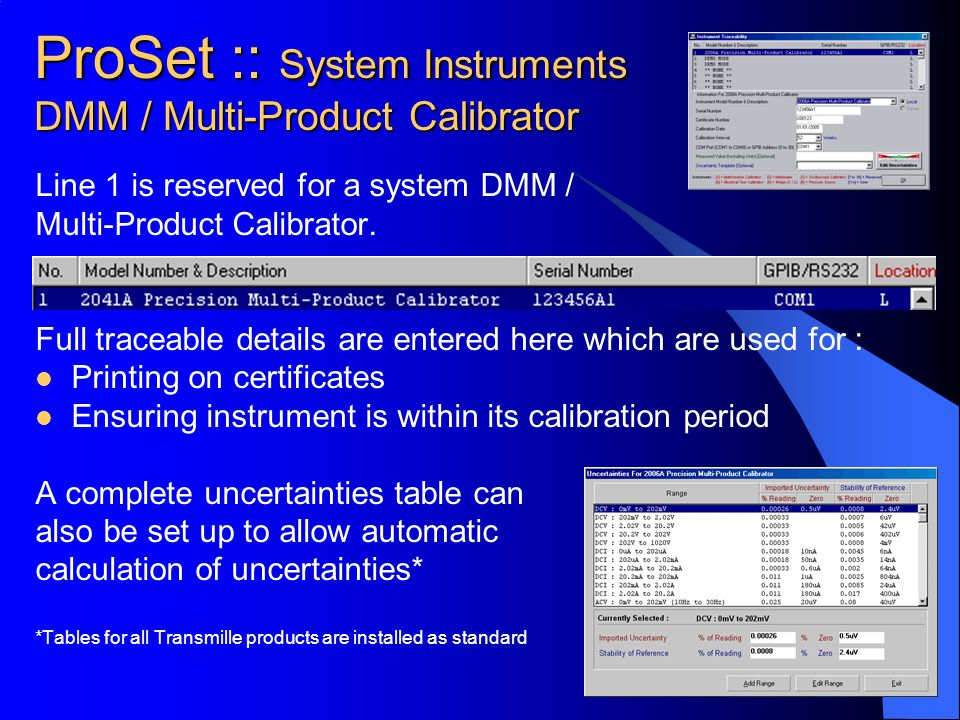 ProSet :: System Instruments DMM / Multi-Product Calibrator
