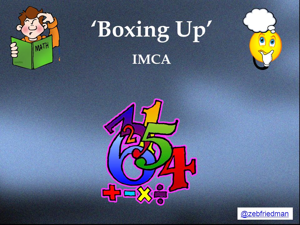 'Boxing Up' IMCA Opening Slide. @zebfriedman