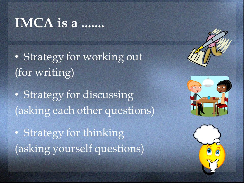 IMCA is a ....... Strategy for working out (for writing)