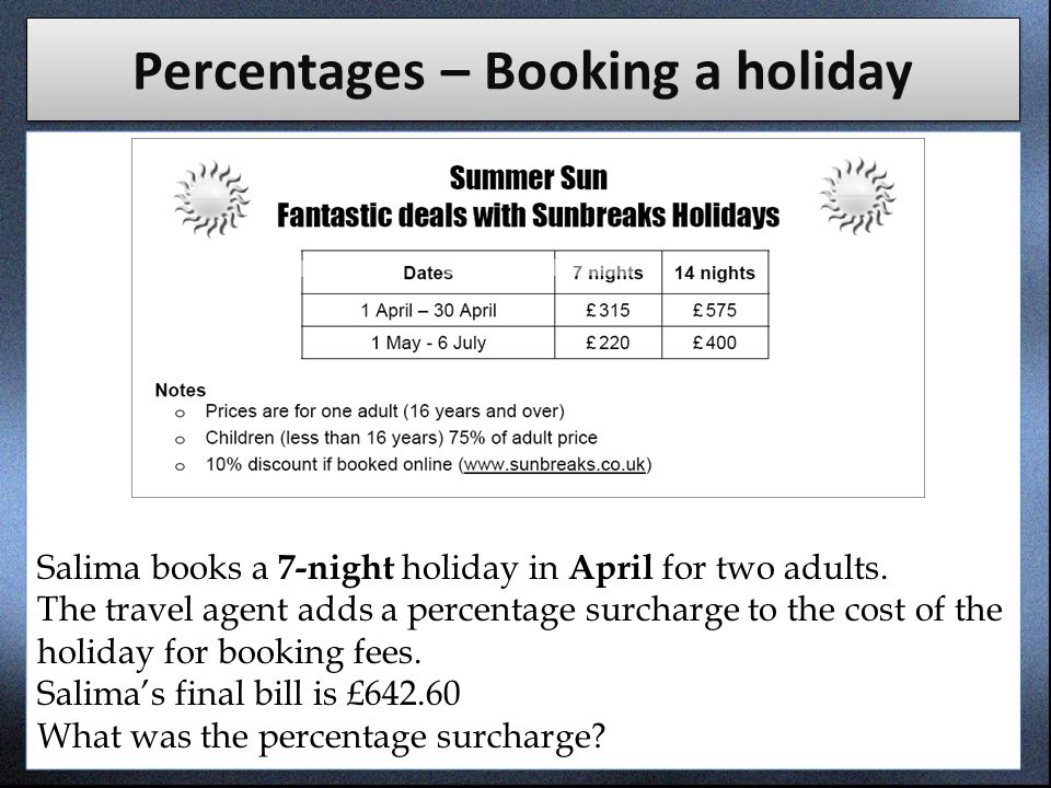 Percentages – Booking a holiday