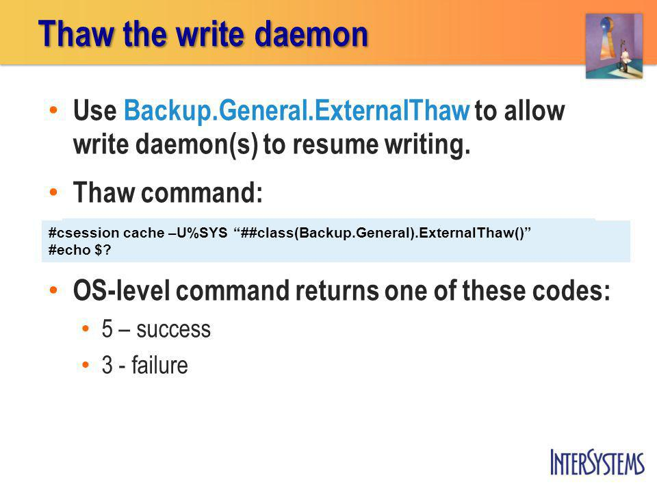 Thaw the write daemon Use Backup.General.ExternalThaw to allow write daemon(s) to resume writing. Thaw command:
