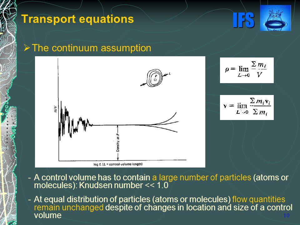 Transport equations The continuum assumption