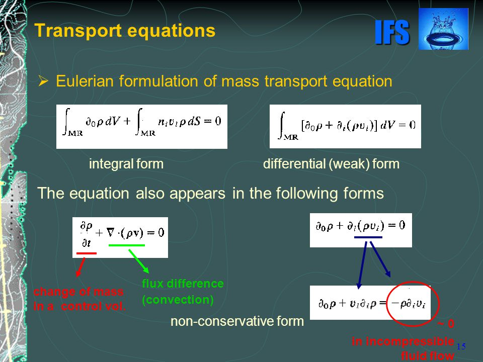 Transport equations Eulerian formulation of mass transport equation