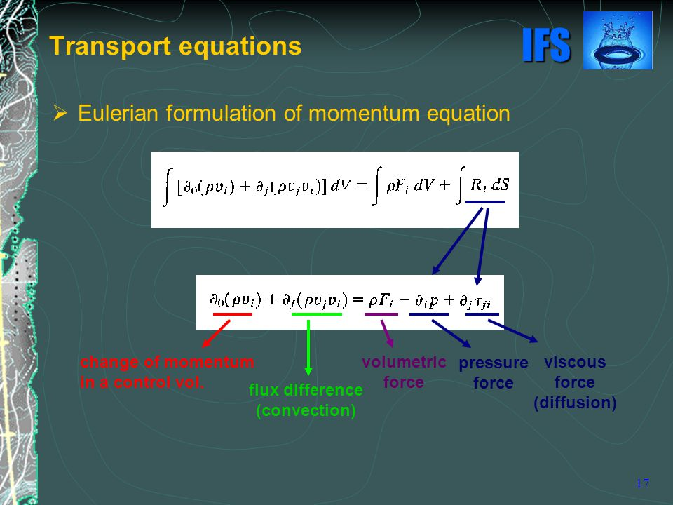 Transport equations Eulerian formulation of momentum equation