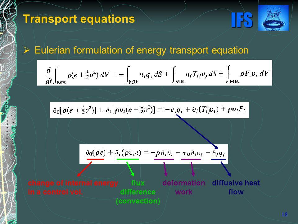 Transport equations Eulerian formulation of energy transport equation