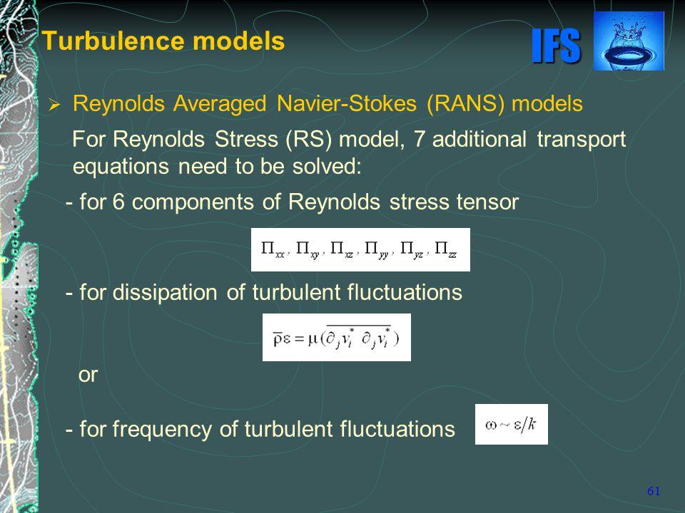 Turbulence models Reynolds Averaged Navier-Stokes (RANS) models